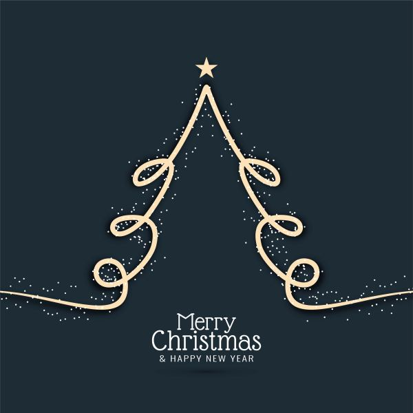 Abstract Decorative Merry Christmas With Modern Tree - Free Vector Art Stock Graphics