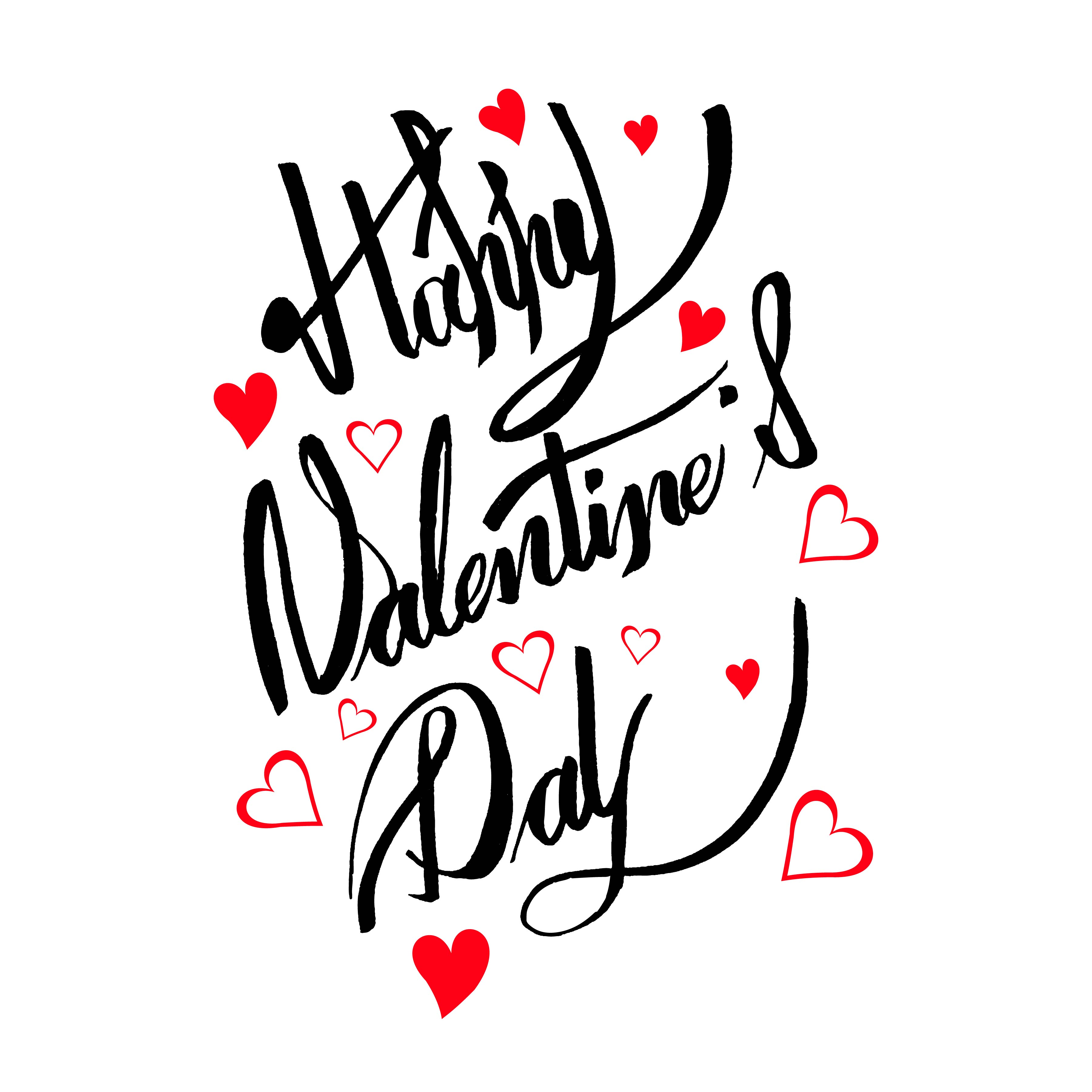 Happy Valentine S Day Card Calligraphy Text Design