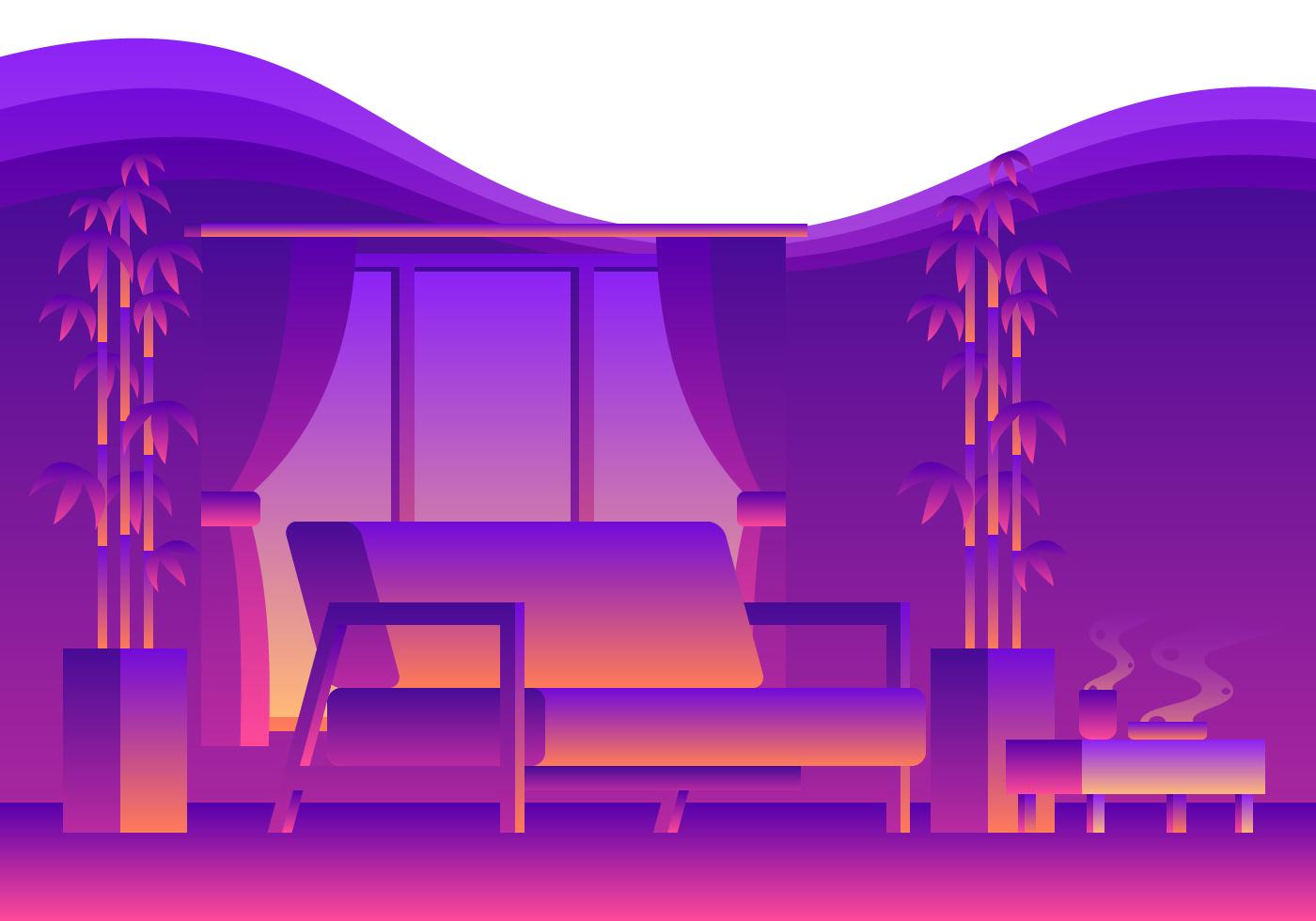 Cozy Neon Living Room  Download Free Vector Art Stock