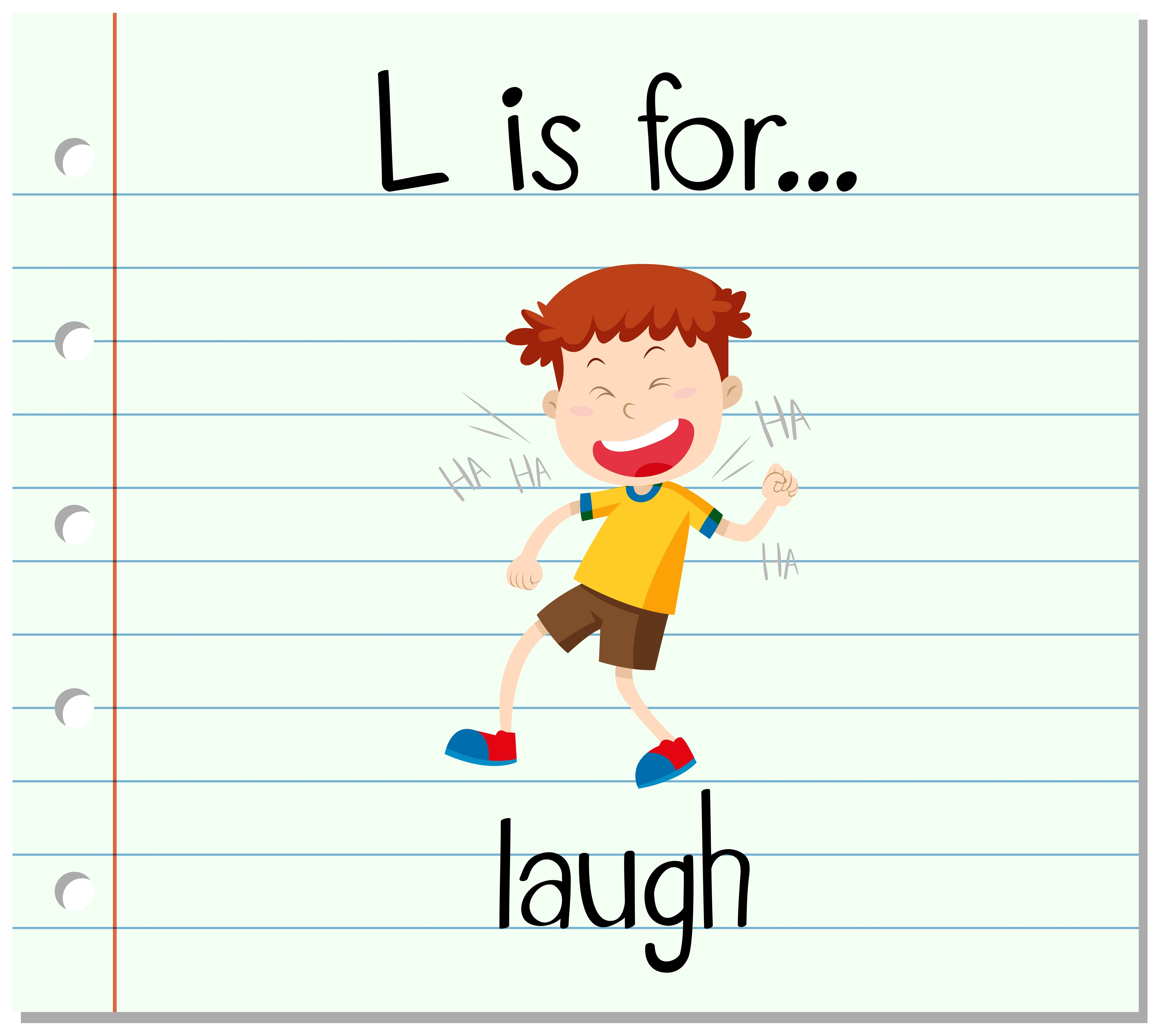 Flashcard Letter L Is For Laugh