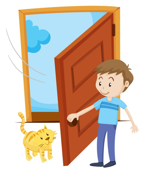 Man Open Door Pet Cat - Free Vector Art