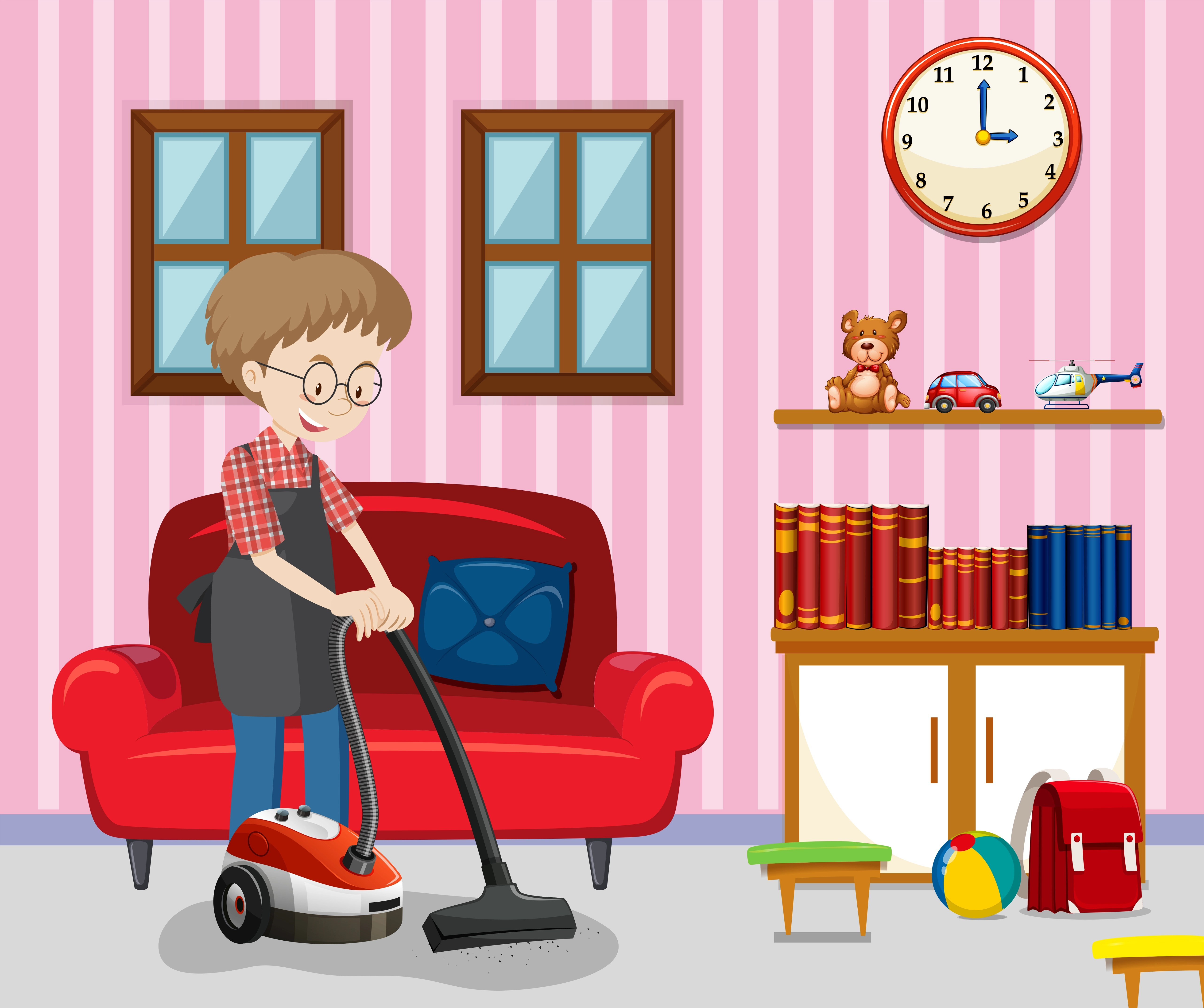 A Man Cleaning Living Room