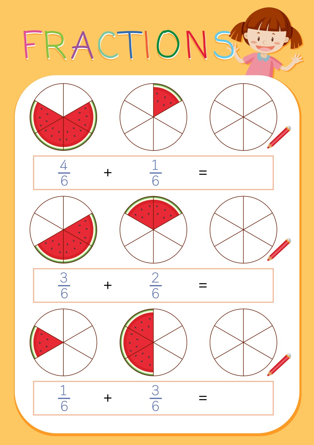 medium resolution of A math fractions worksheet - Download Free Vectors