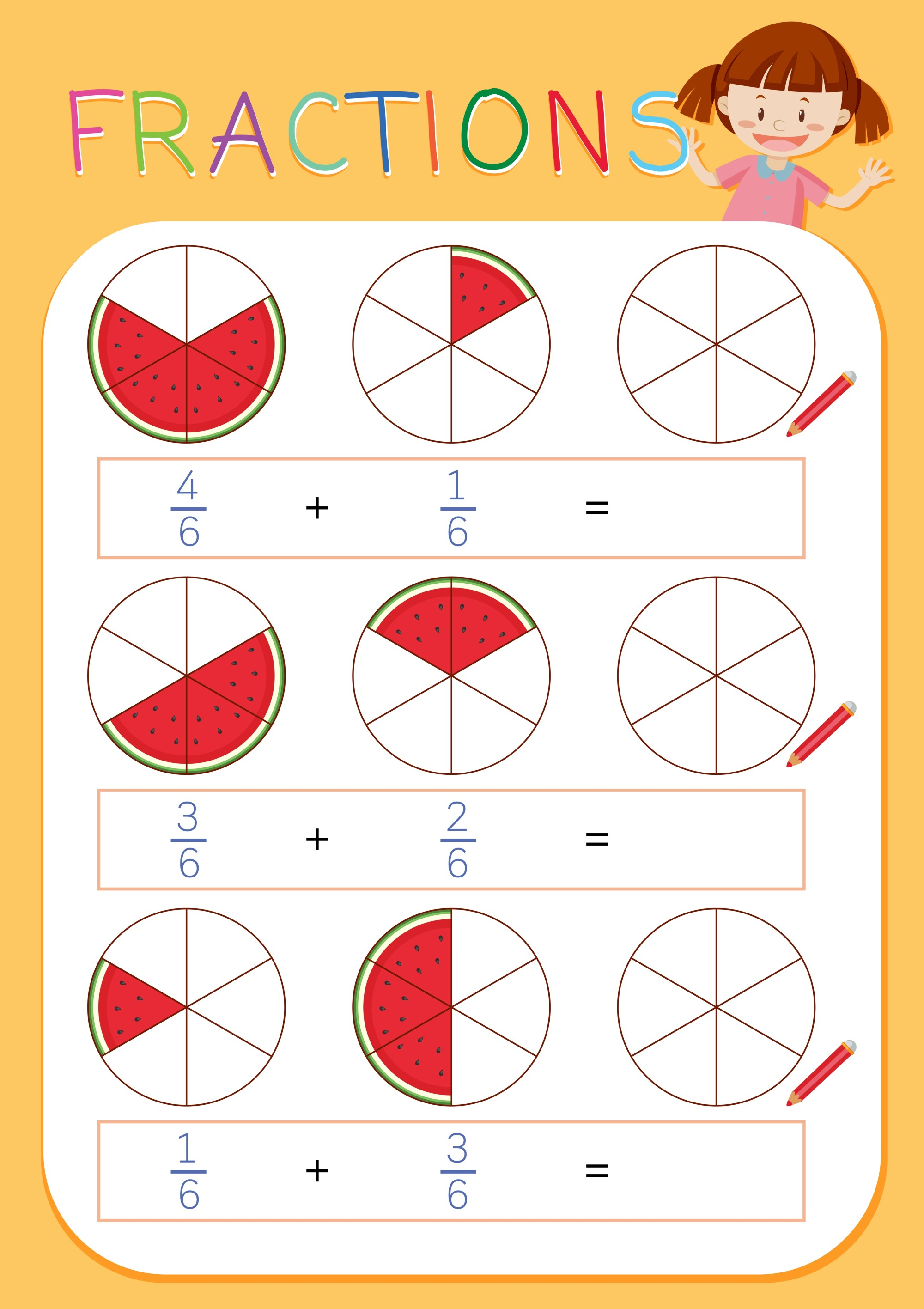 hight resolution of A math fractions worksheet - Download Free Vectors