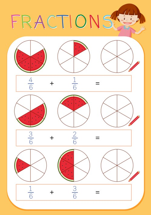 small resolution of A math fractions worksheet - Download Free Vectors