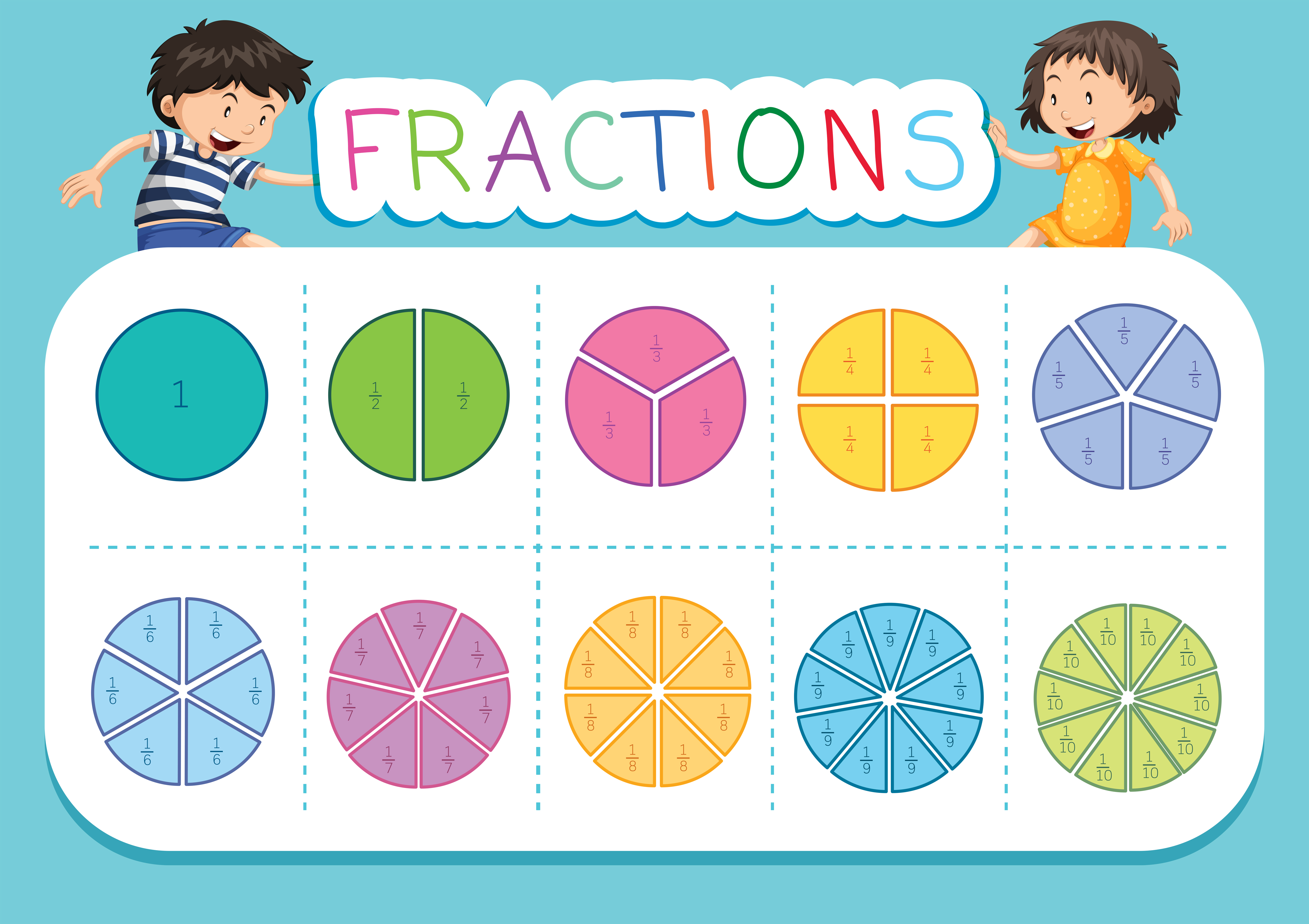 Mathematics Fraction Worksheet Background
