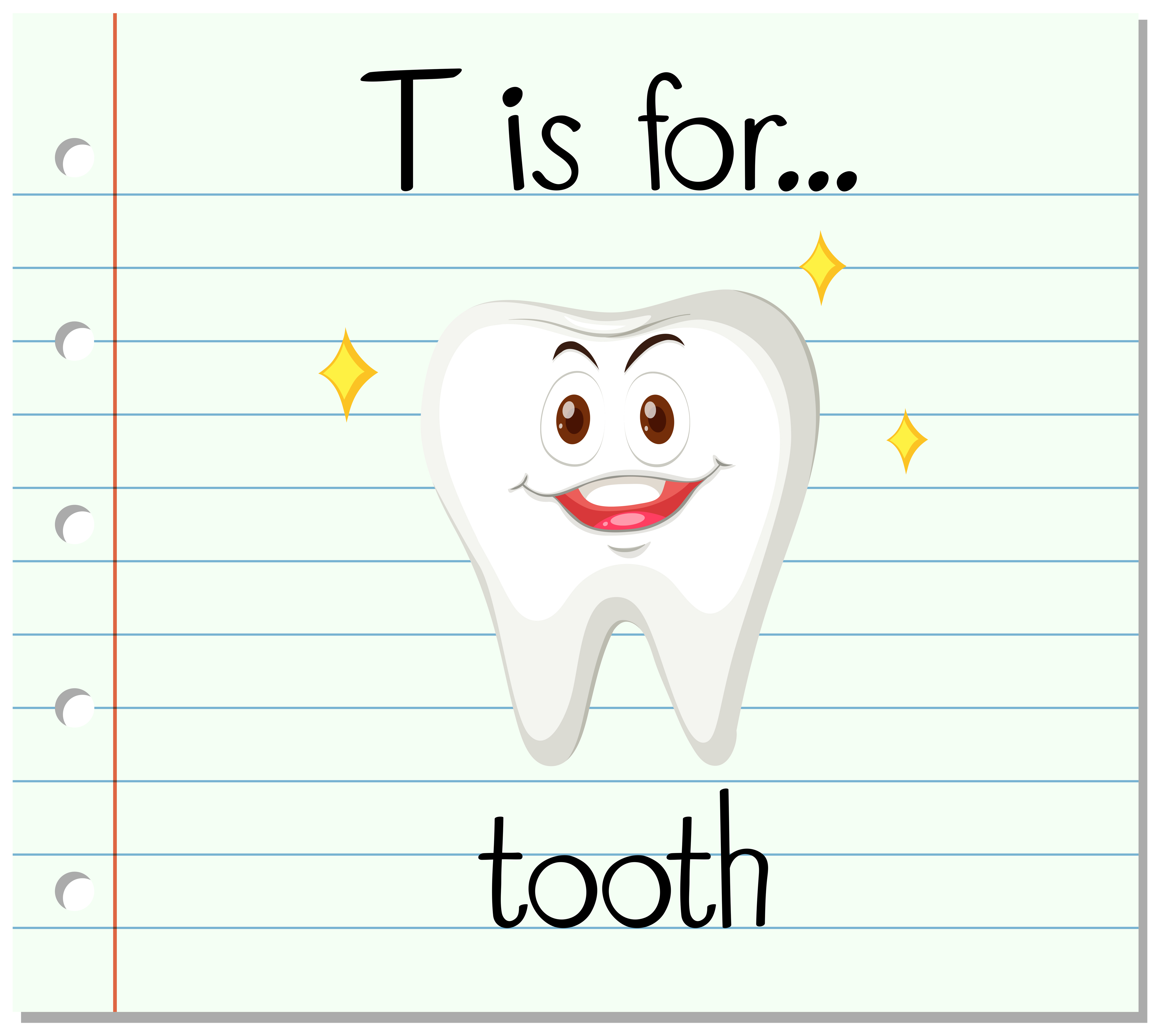 Flashcard Letter T Is For Tooth Vector