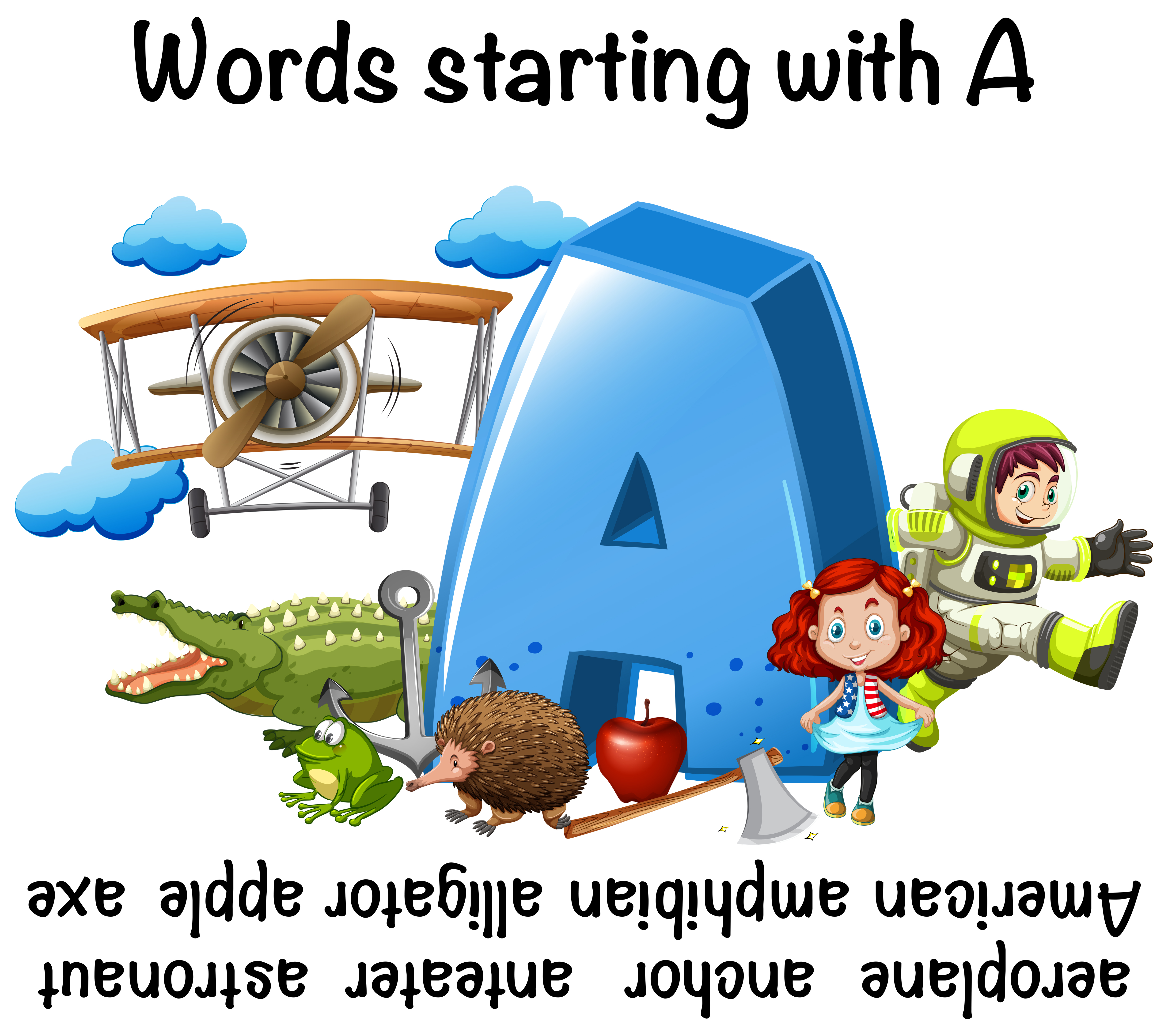 Worksheet Design For Words Starting With A