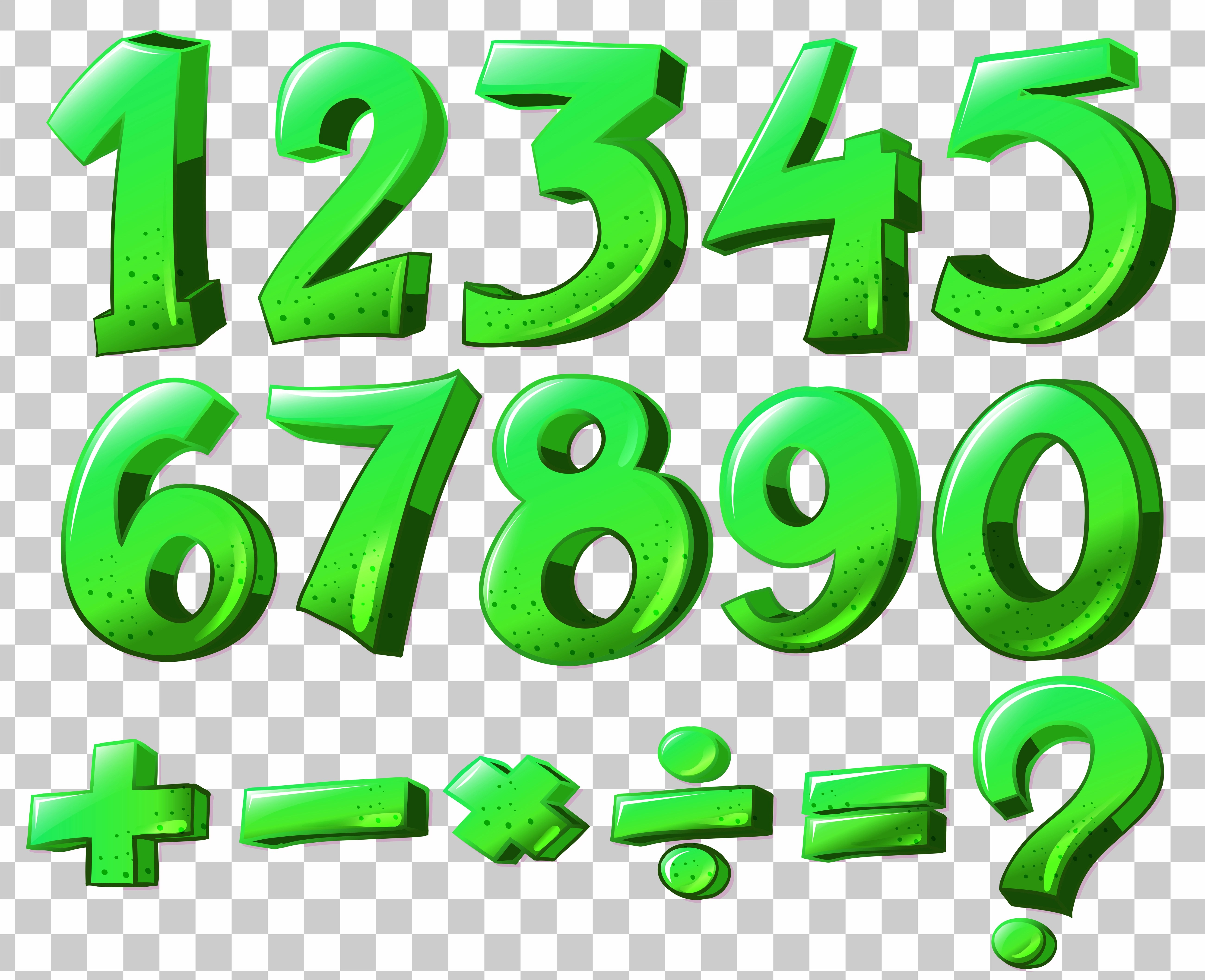 Numbers In Green Color