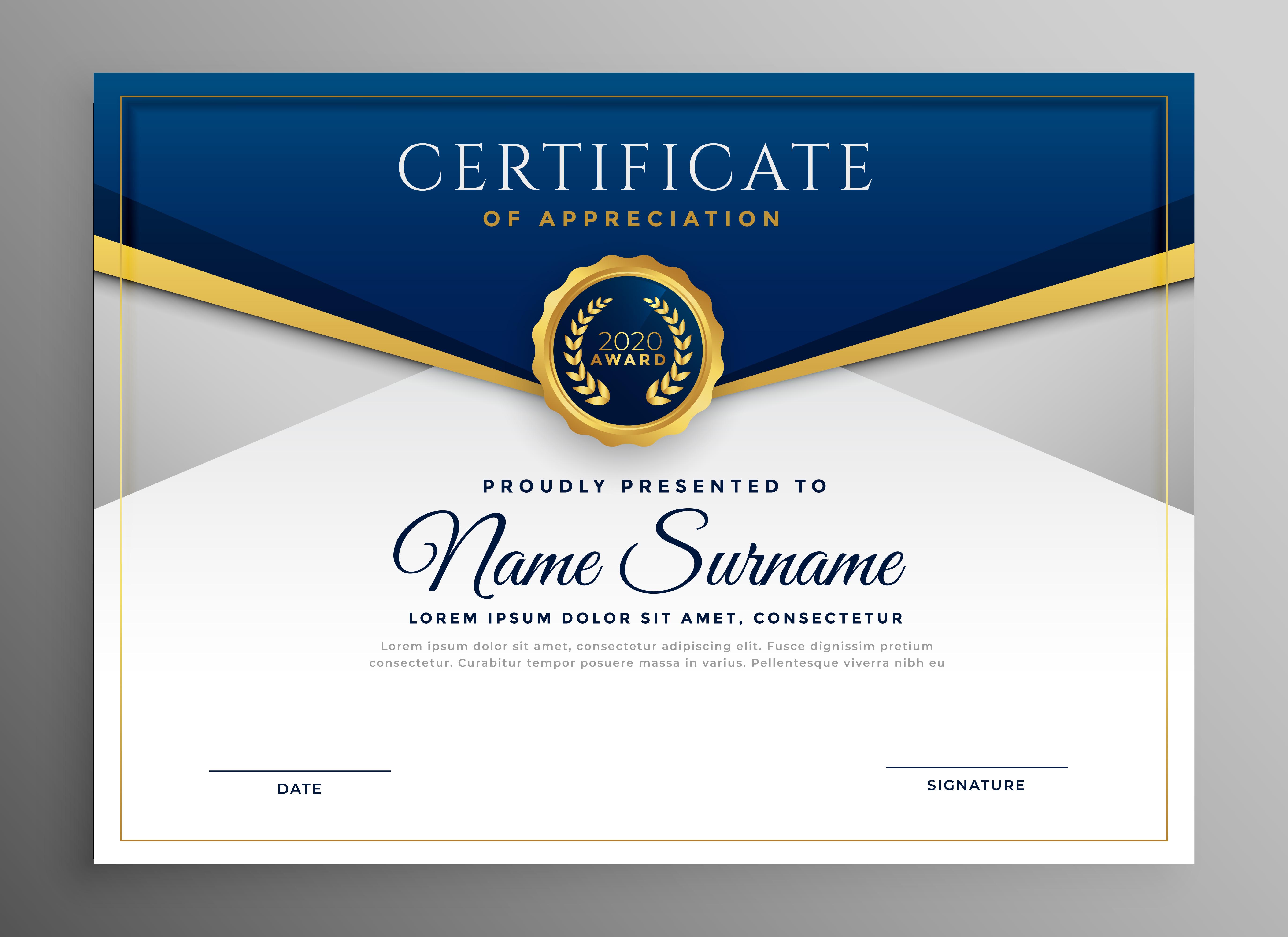 Elegante Plantilla De Certificado De Diploma Azul Y Oro