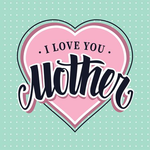 Download I Love You Mother Retro Vector Lettering - Download Free ...