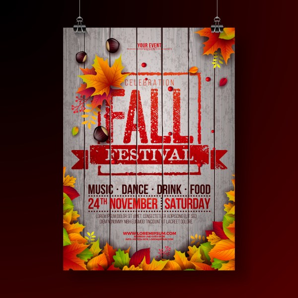 Fall Festival Party Flyer Illustration - Free Vector Art Stock Graphics &