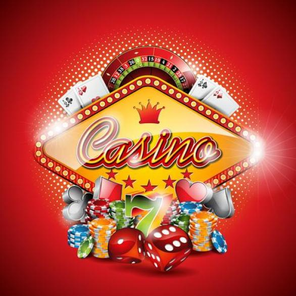 Vector illustration on a casino theme with gambling elements on red  background. 340596 Vector Art at Vecteezy