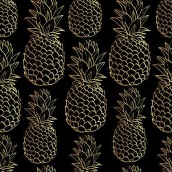 tropical seamless pattern fruit vector exotic pineapples silhouettes flower protea vectors pineapple watercolor summer gold illustration vecteezy