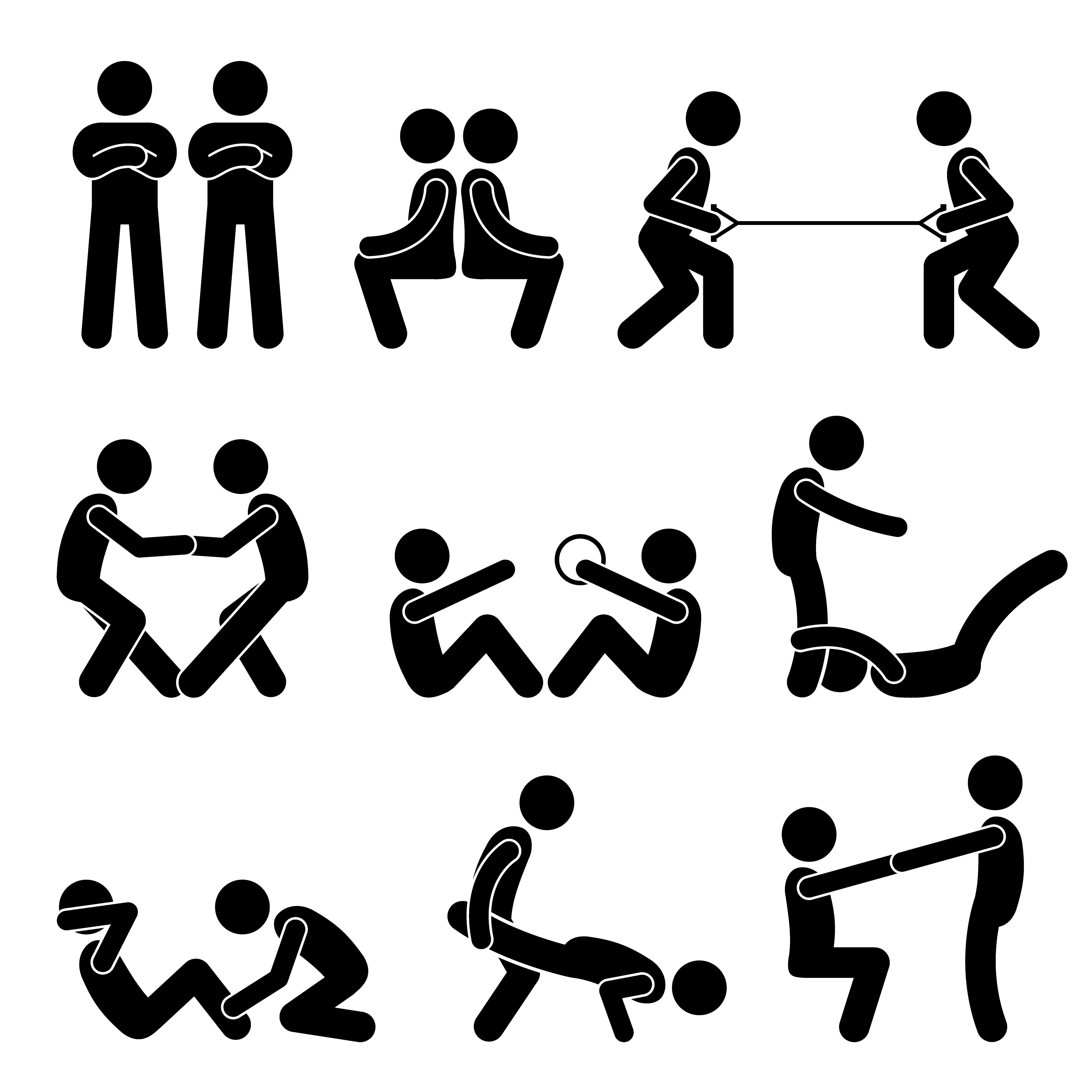 Exercise Workout with a Partner Stick Figure Pictogram