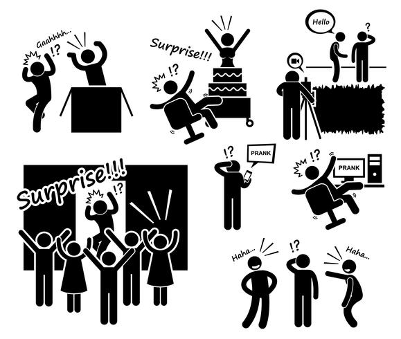Surprise and Prank Stick Figure Pictogram Icons