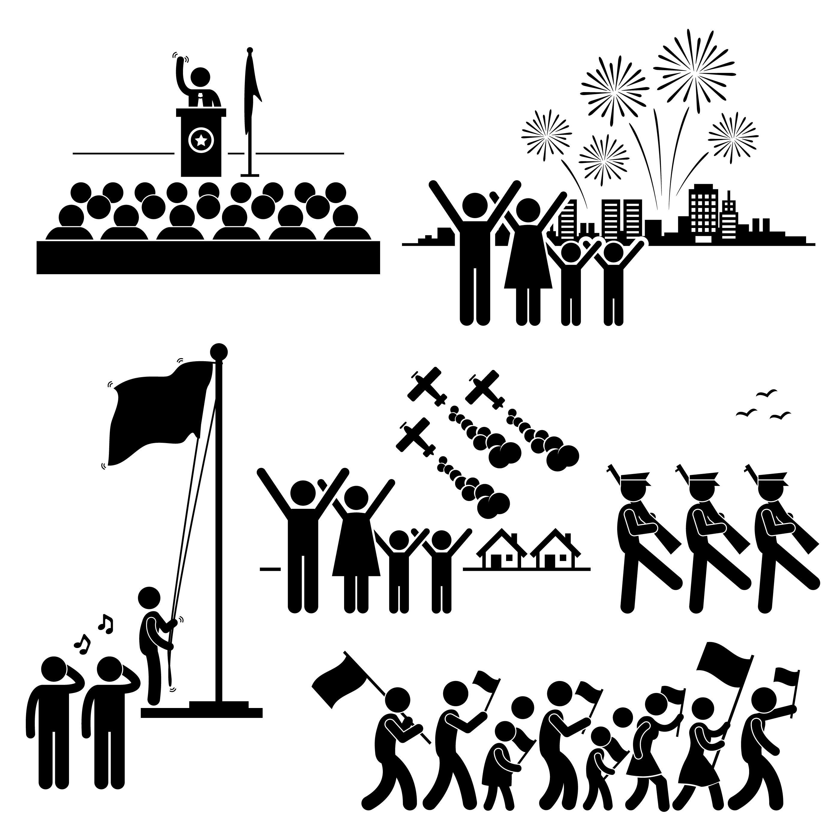 People Celebrating National Day Independence Patriotic