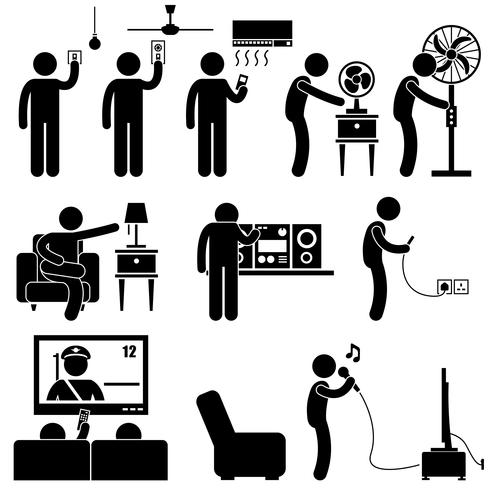 Man Using Home Appliances Entertainment Leisure