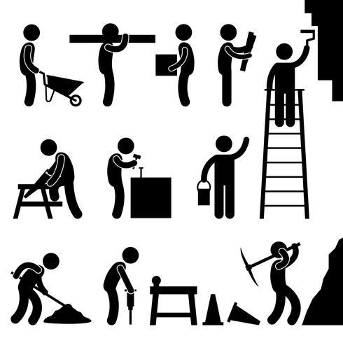 Trabajo de construcción duro trabajo pictograma icono