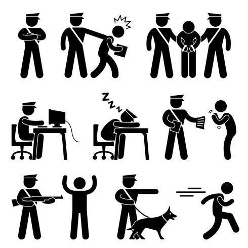 Security Guard Police Officer Thief Icon Symbol Sign