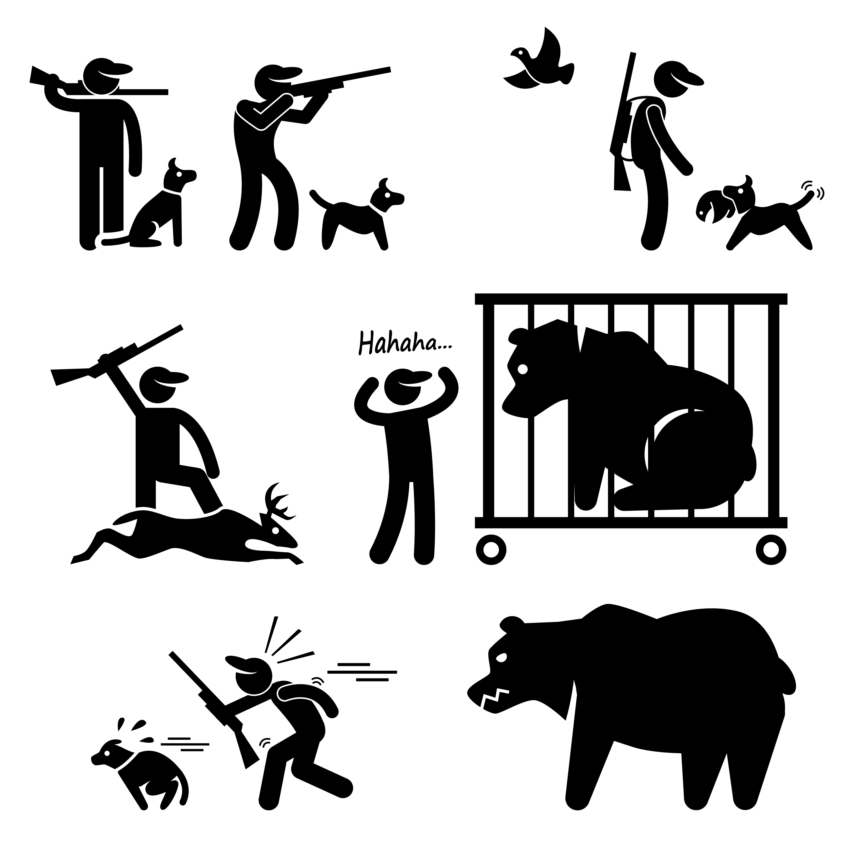 Hunter And Hunting Dog Stick Figure Pictogram Icon