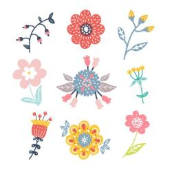Hand Drawn Flower Clipart Pack Download Free Vectors Clipart Graphics & Vector Art