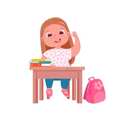 A little cute girl character at desk on lesson Schoolgirl goes study in junior school Books and sweet pink bag Download Free Vectors Clipart Graphics & Vector Art