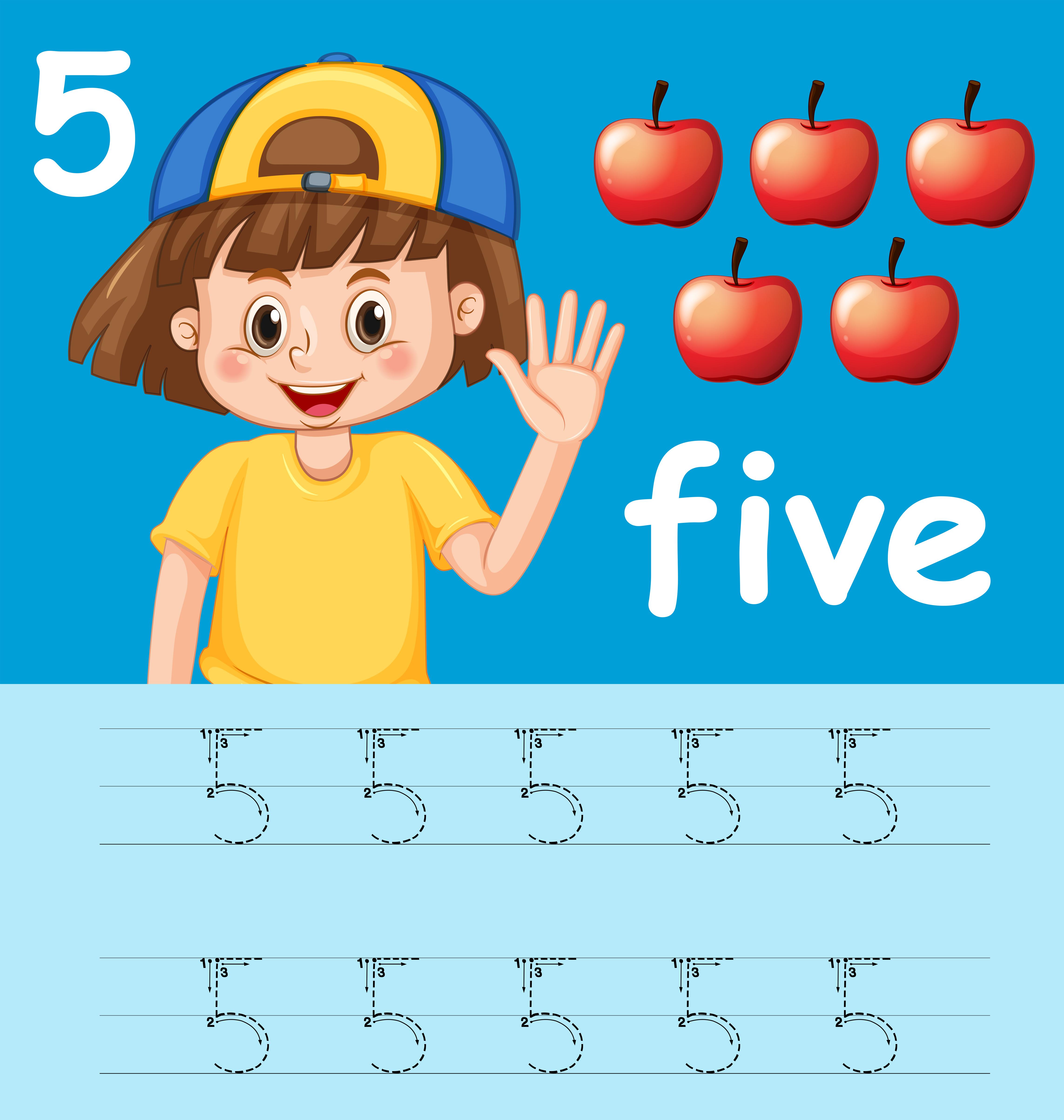 Number Five Tracing Alphabet Worksheets
