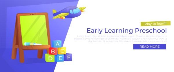 Early Learning Preschool Banner. Play Learn