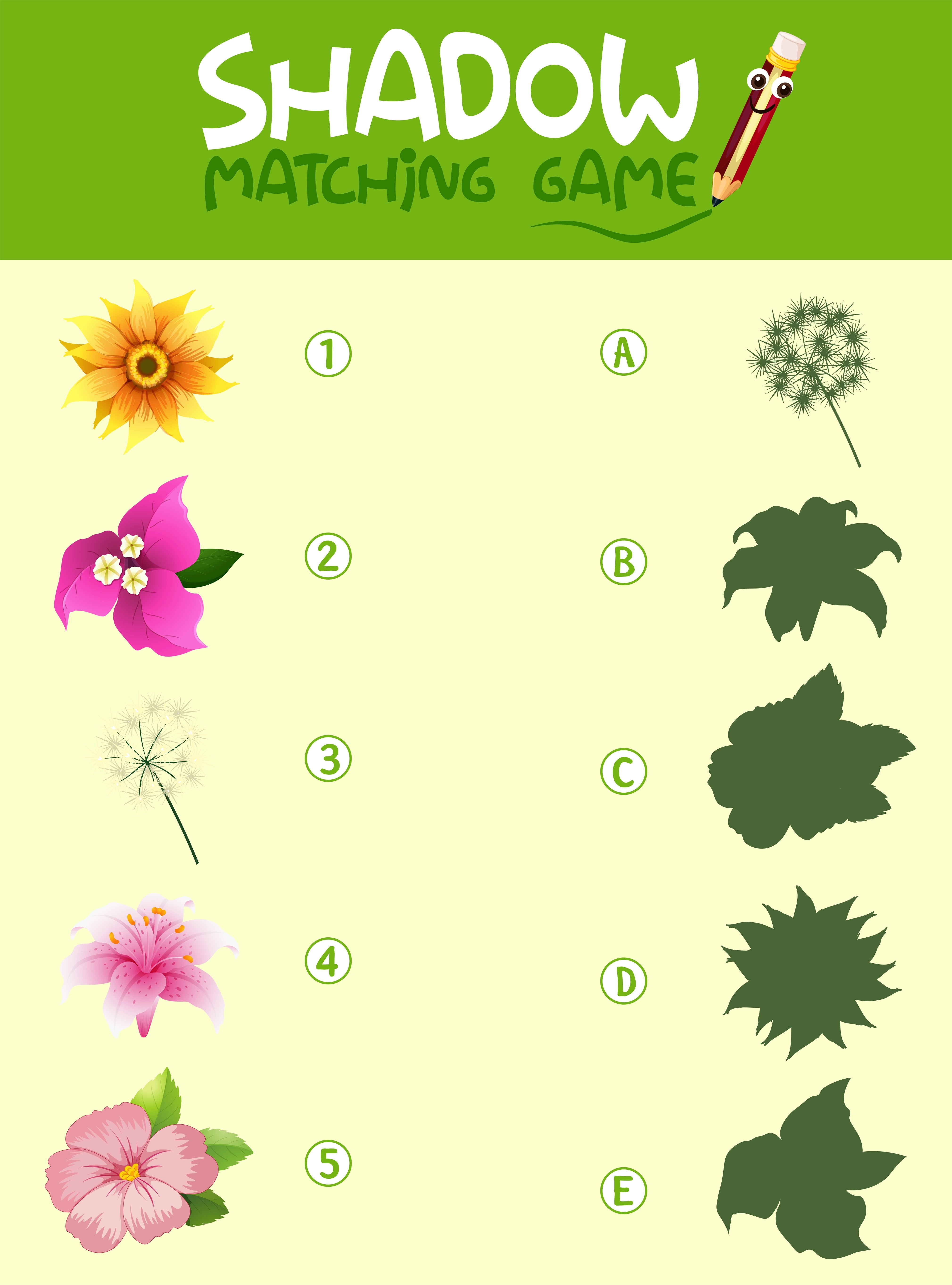 Flower Shadow Matching Game Template