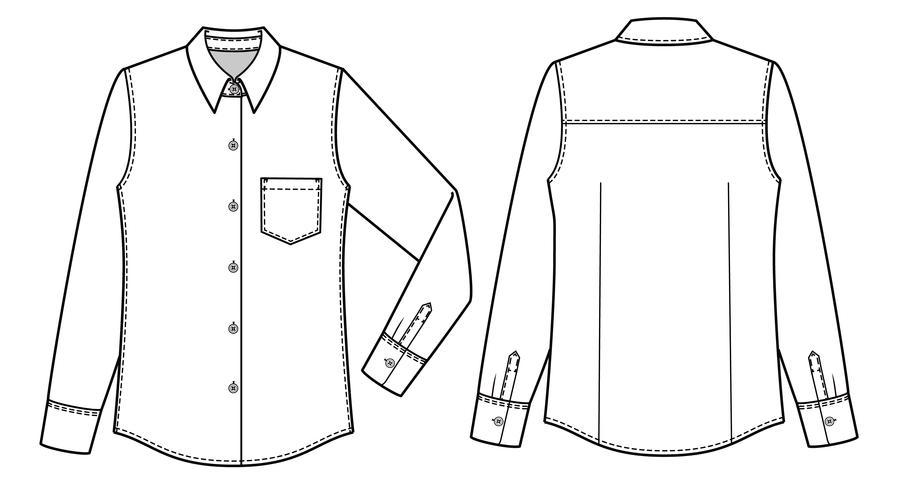 Long Sleeve Shirts fashion flat technical drawing template