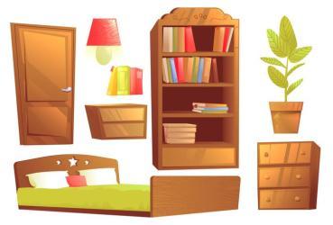 Modern furniture for bedroom interior design Vector cartoon illustration set Download Free Vectors Clipart Graphics & Vector Art