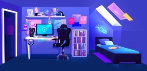 gamer boy banner vector attic chair interior setup pc gaming bedroom anime background clip cartoon gamers illustrations pro desk illustration
