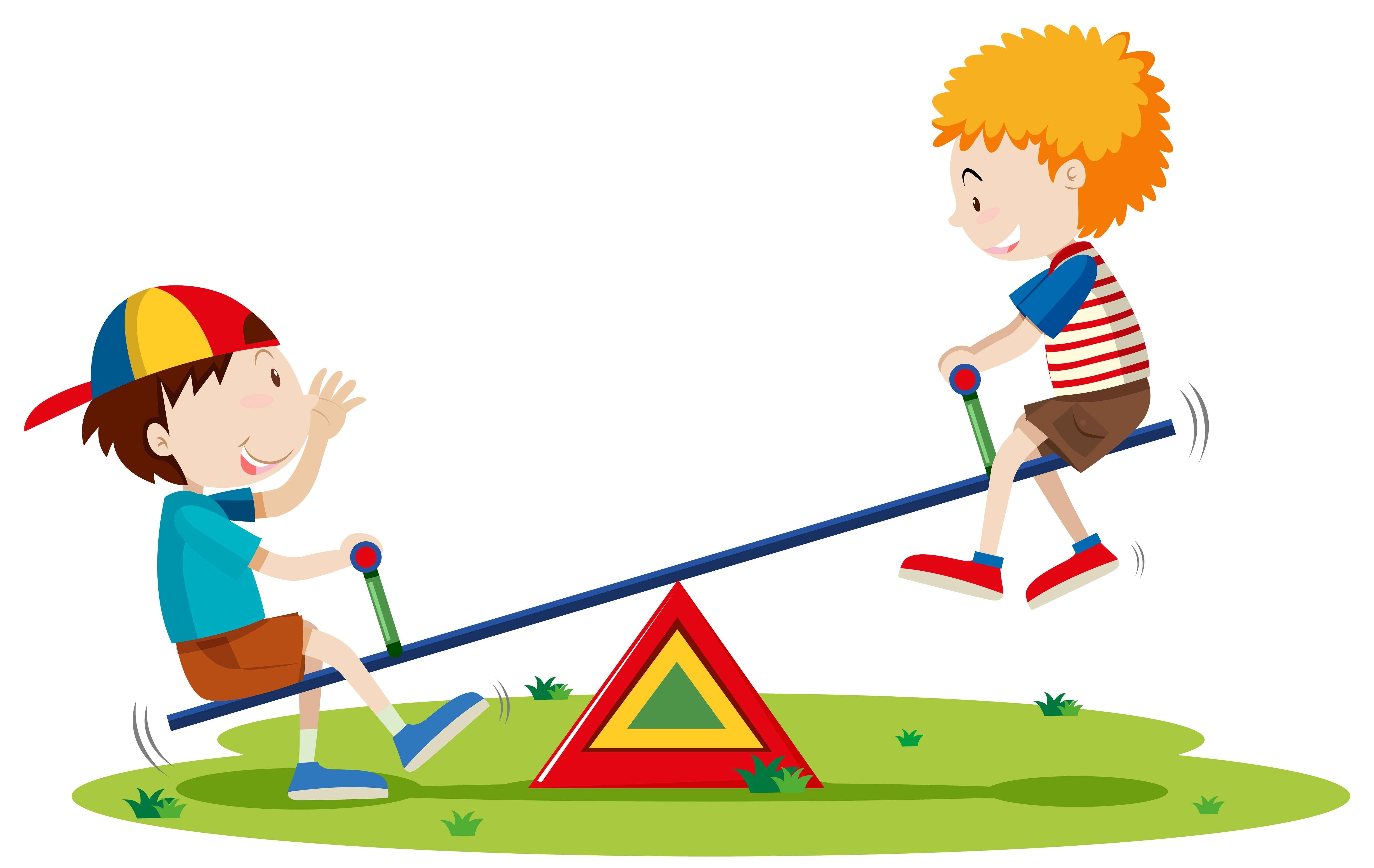 Two Boys Playing Seesaw In The Park