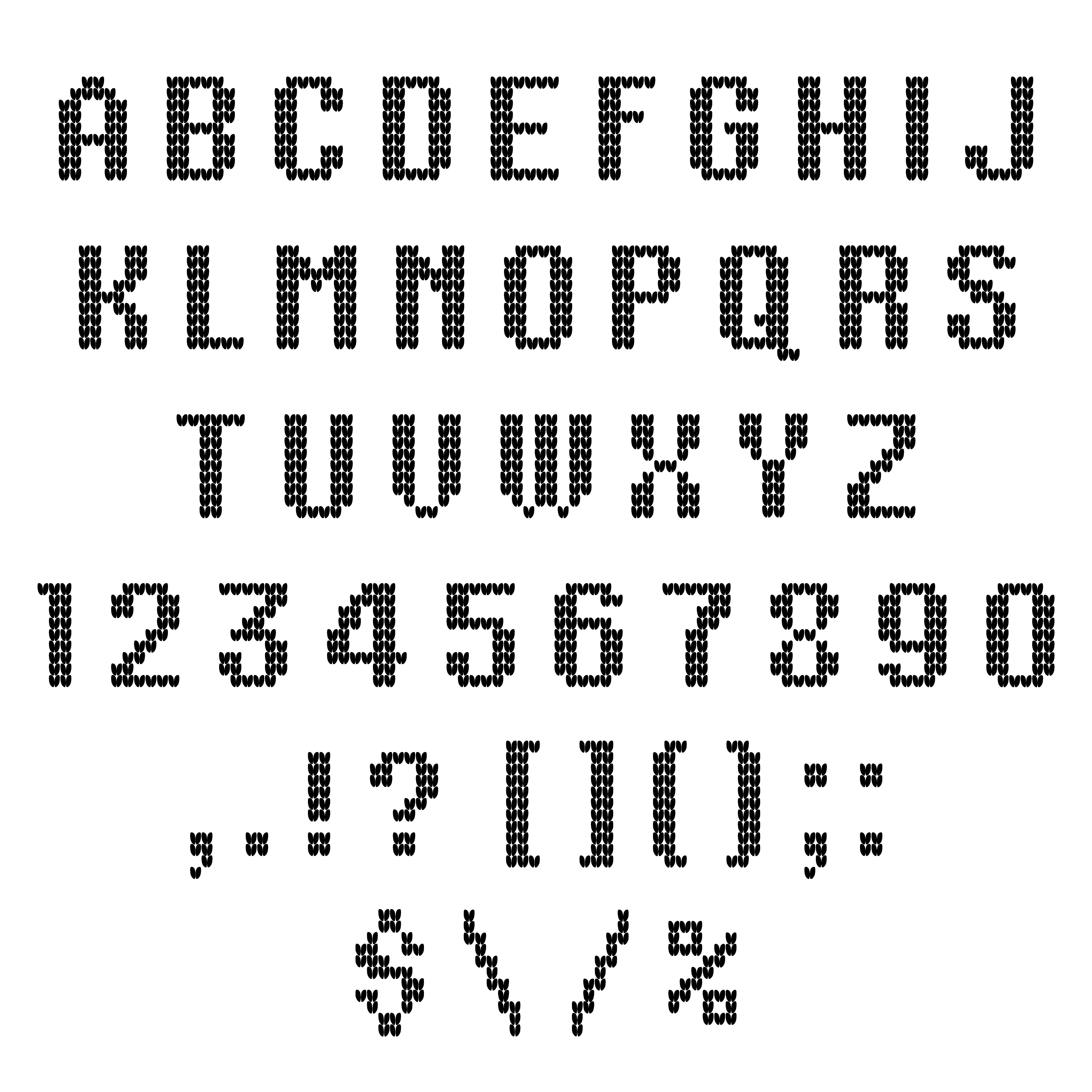 A knitted vector alphabet. Latin letters., numbers