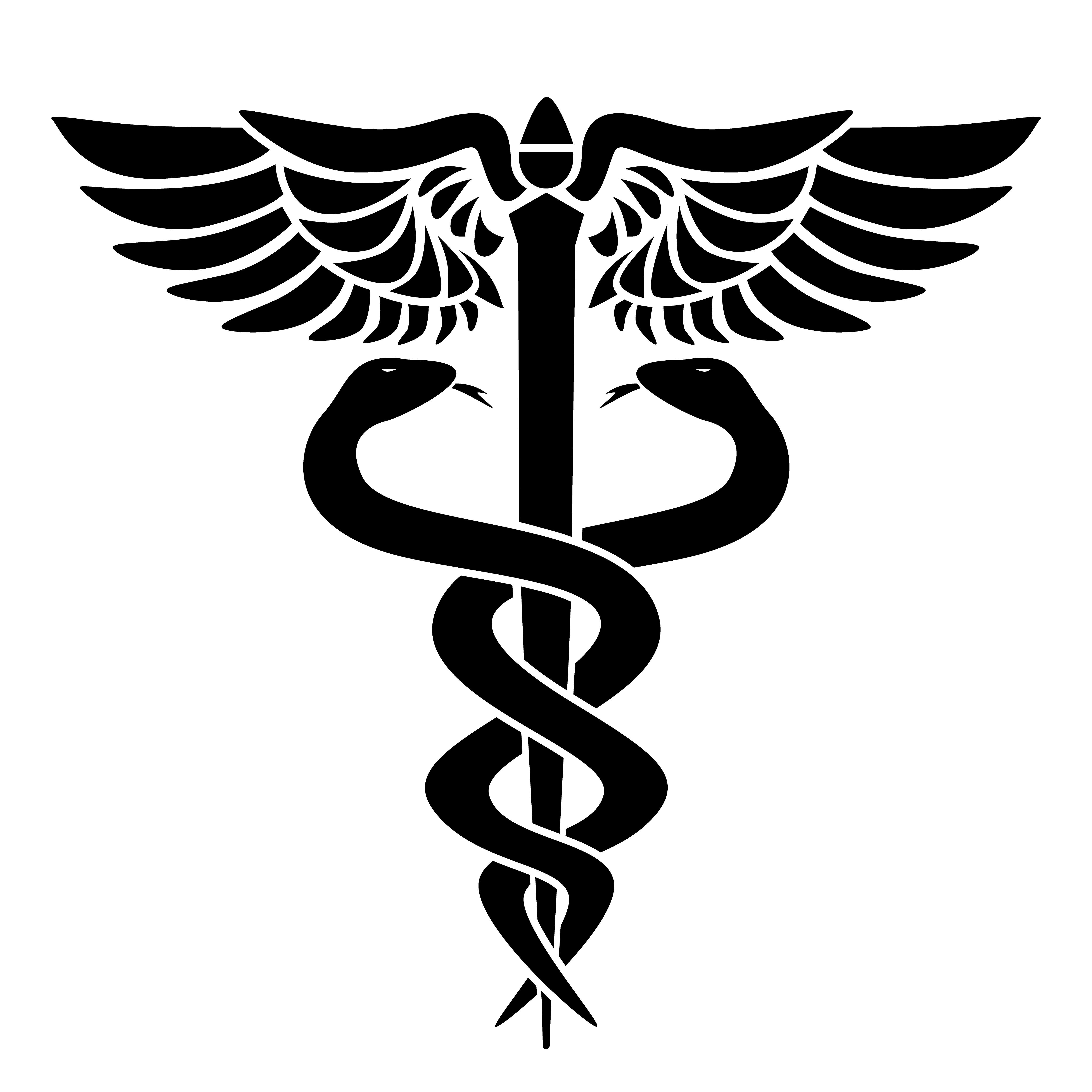 Caduceus Medical Symbol With Two Snakes Staff And Wings