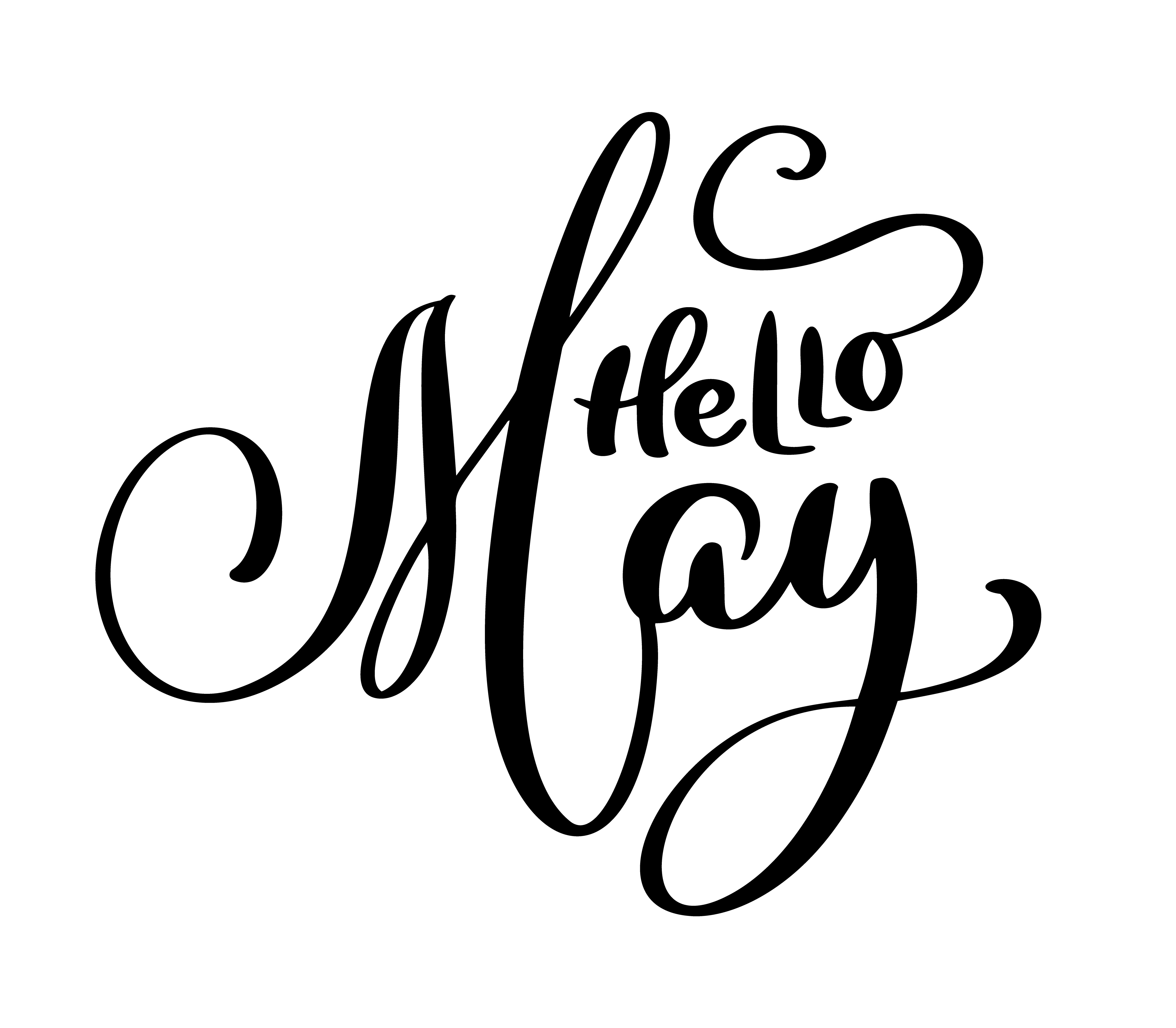 Hello May Handwriting Lettering Design