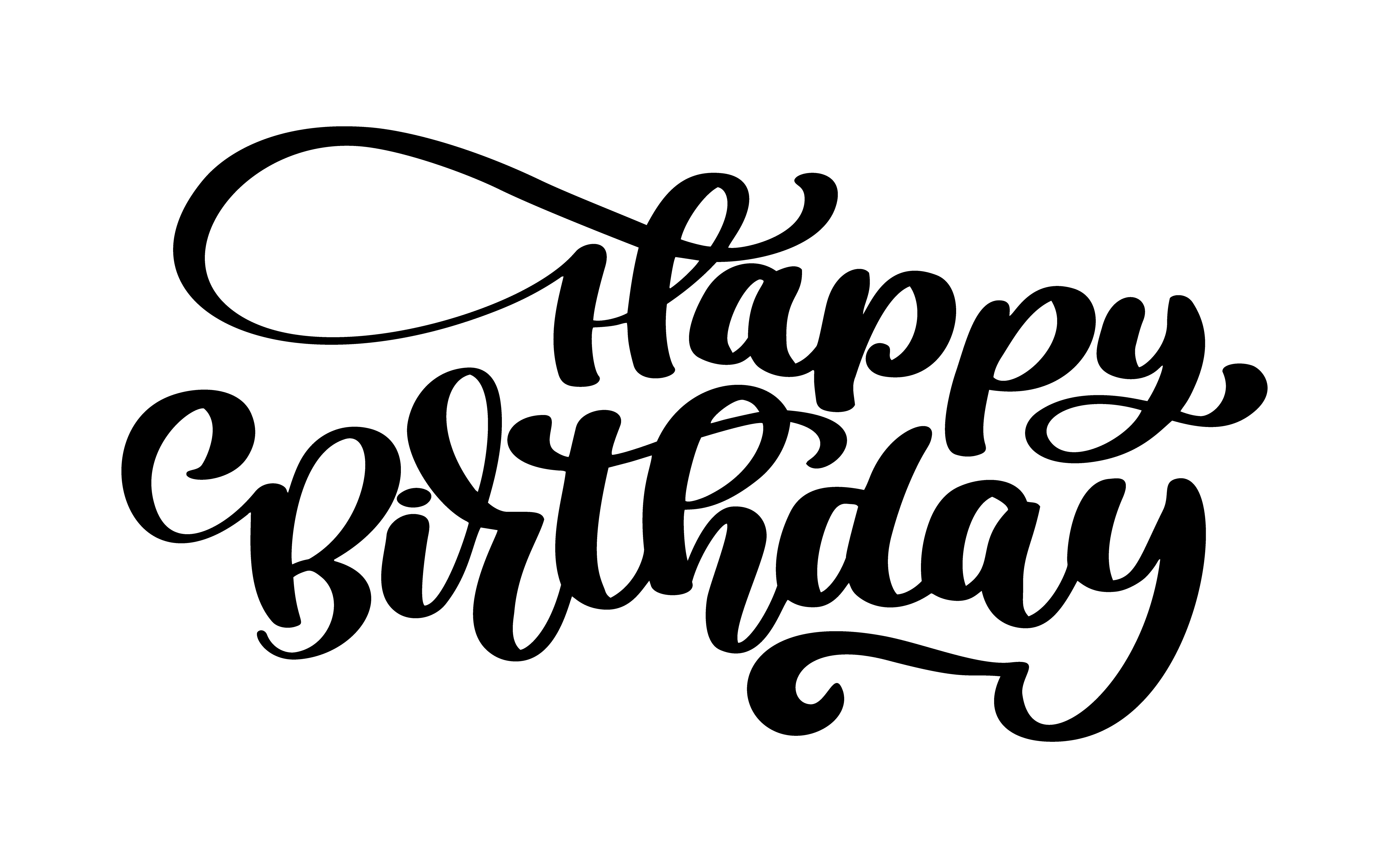 Happy Birthday Hand drawn text phrase  Download Free