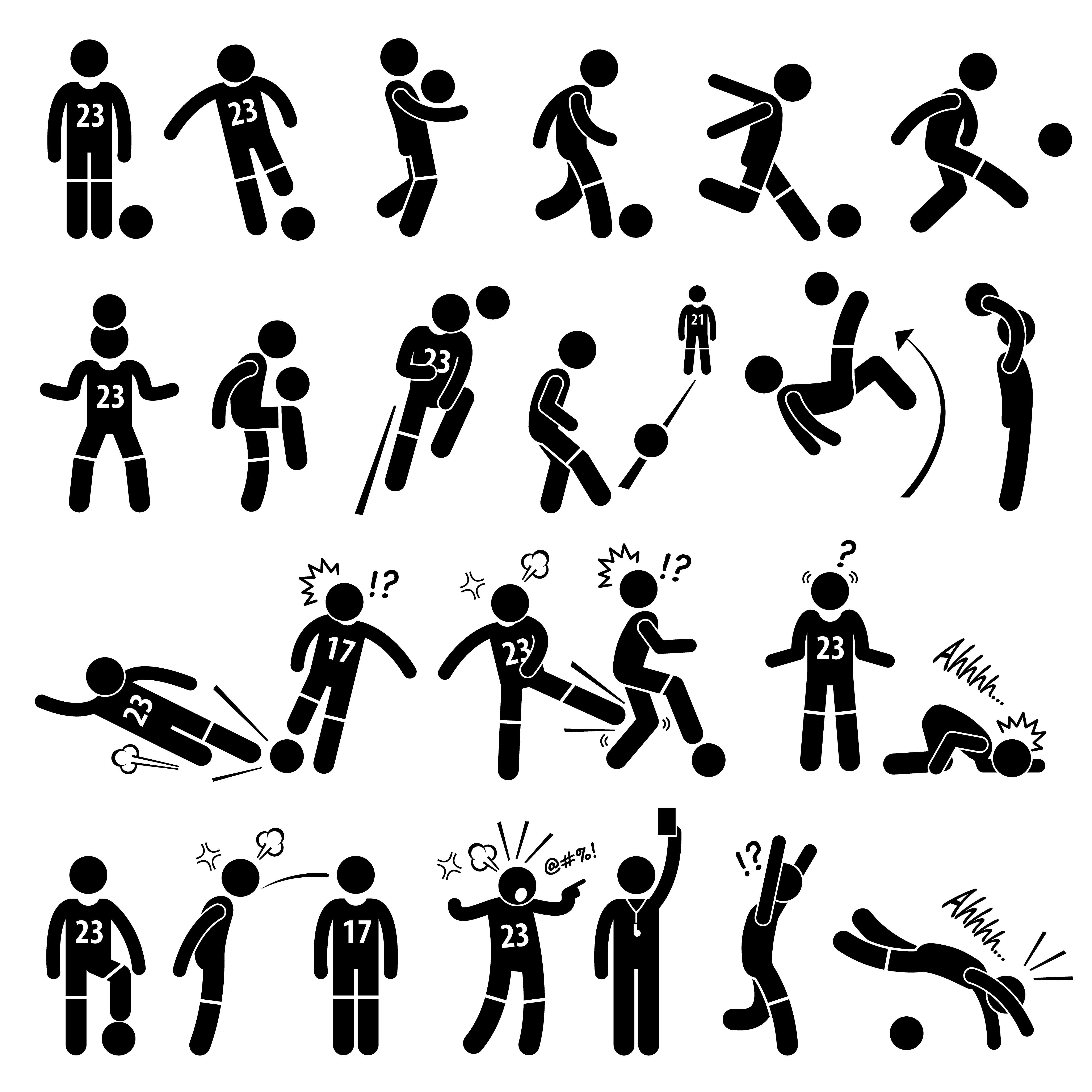 Football Soccer Player Footballer Actions Poses Stick
