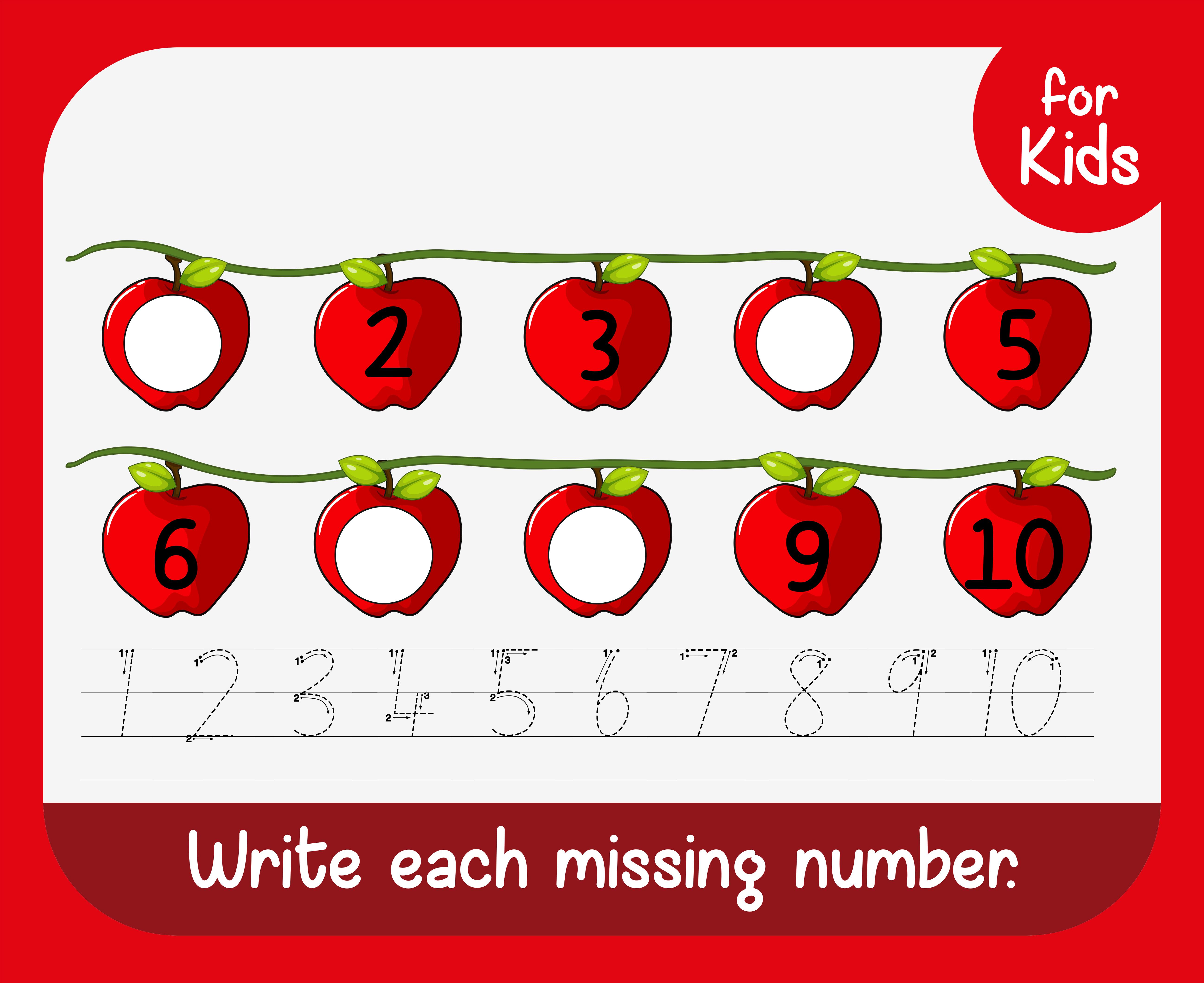 Write Missing Number Worksheet