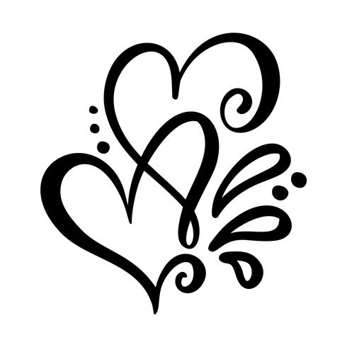 Download Two lover calligraphic hearts - Download Free Vectors ...