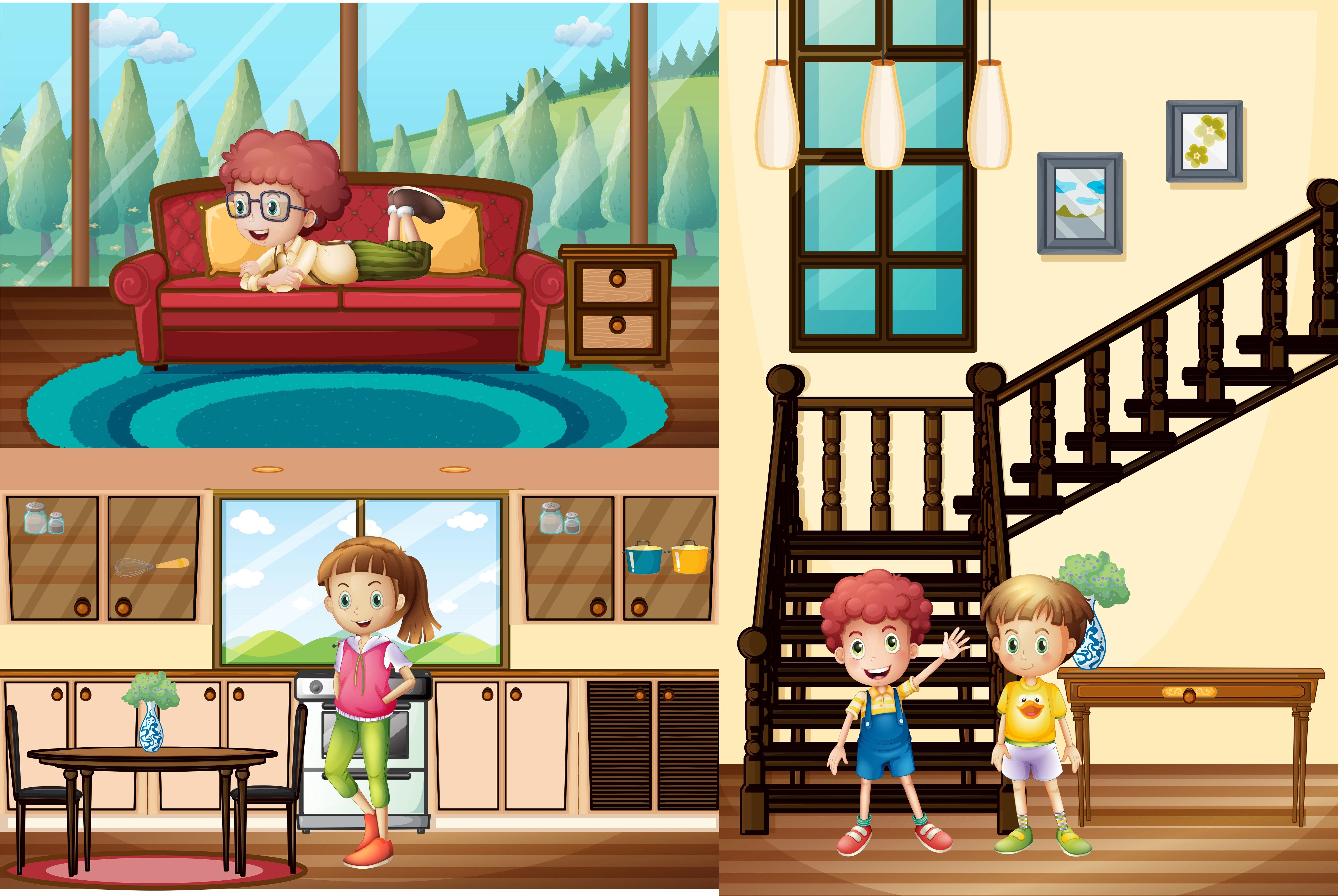 Kids In Different Rooms Of The House