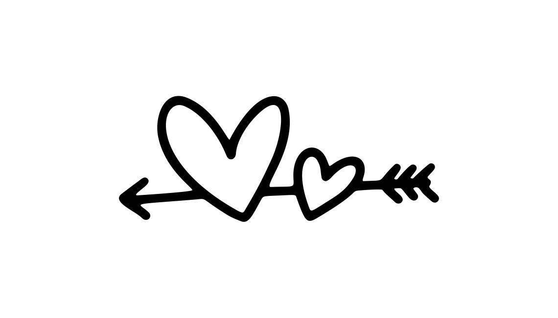 Download Vector monoline arrow with two hearts. Valentines Day Hand ...