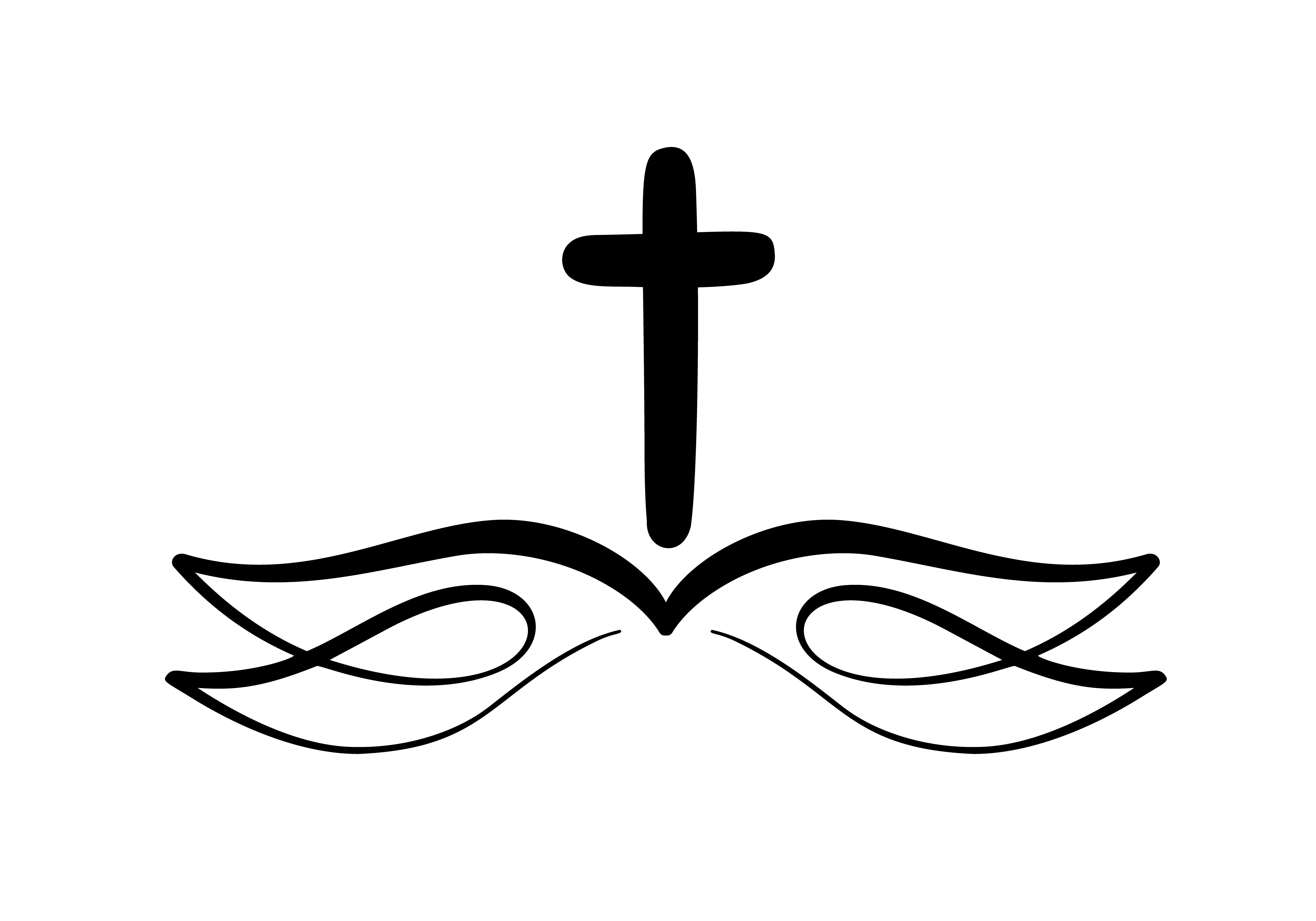 Vector Illustration Of Christian Logo Emblem With Cross