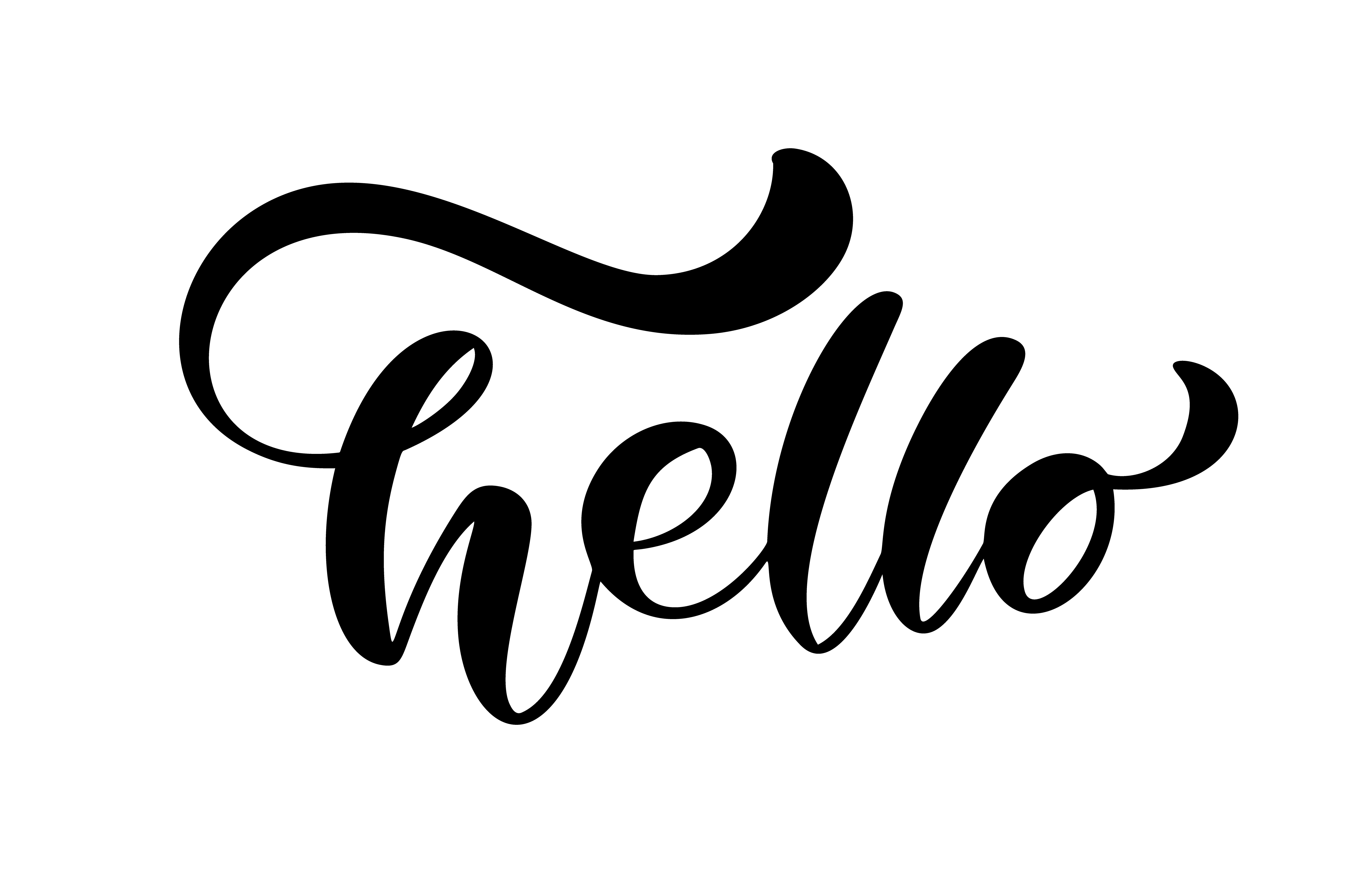 Calligraphy Lettering Text Hello Hand Drawn Brush Pen