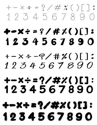 Diseño de fuentes con números y signos matemáticos