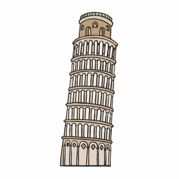 Leaning Tower Of Pisa Illustration - Free Vector