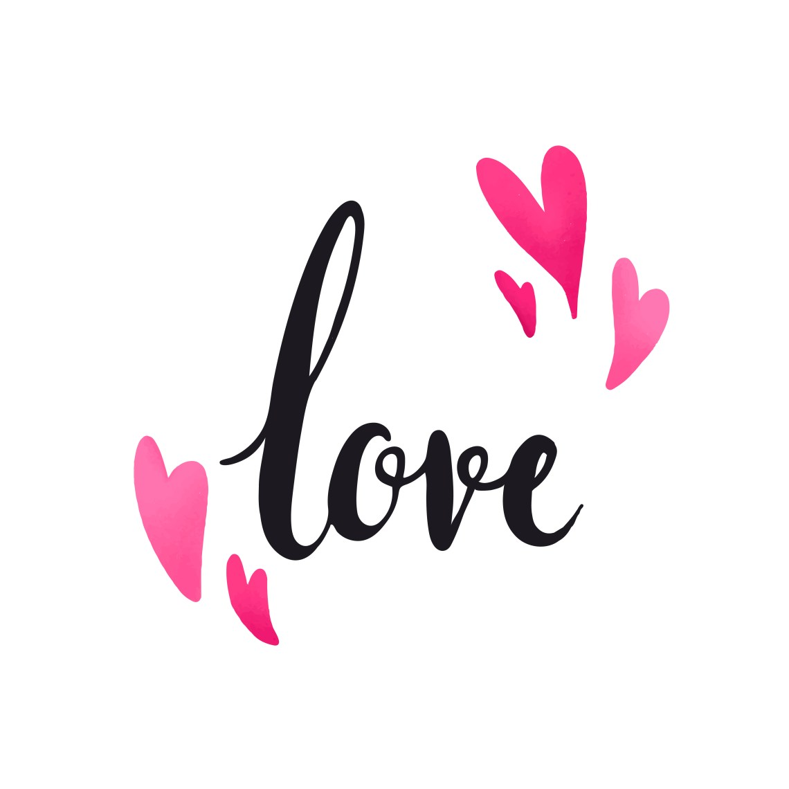Download Love typography decorated with hearts vector - Download ...