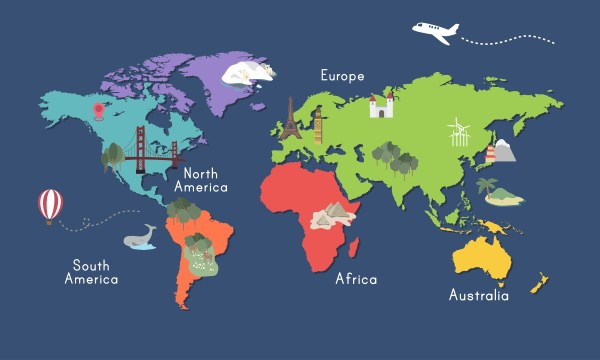 Illustration of world map isolated Download Free Vector
