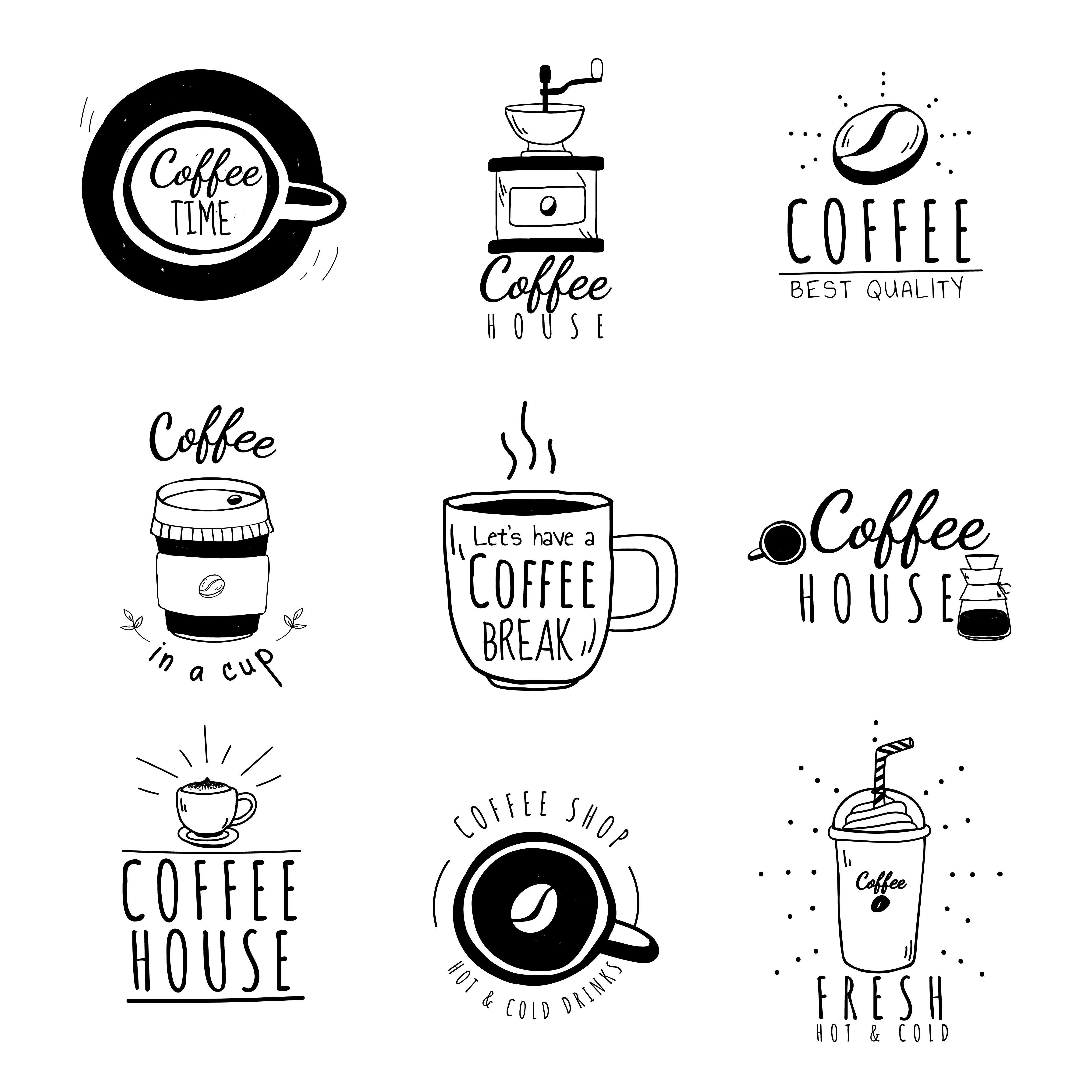 Set Of Coffee Shop Logos Vector